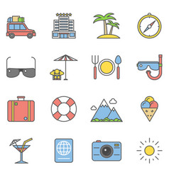 summer travel linear and beach vacation line icons vector image