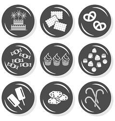 Sweet birthday cake icons vector image