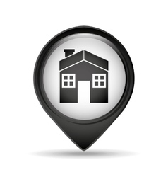 Symbol house pin map icon design vector