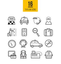 Taxi app linear icons set vector