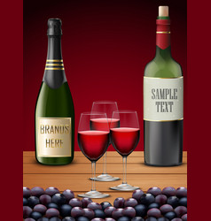 Three wineglass and champagne bottles vector