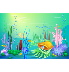 undersea world with a golden seashell and vector image vector image