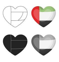 United arab emirates heart icon in cartoon style vector