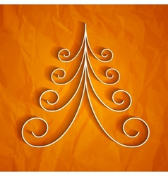White 3d paper christmas tree on orange background vector