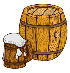 wooden beer keg and mug of beer vector image