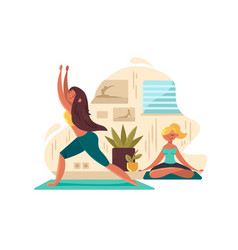 Young girls practicing yoga vector
