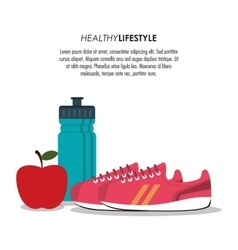 Bottle shoes apple healthy lifestyle vector