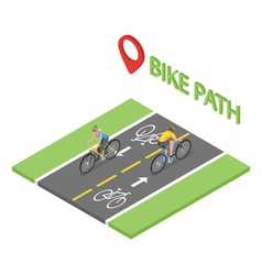 Isometric people on bicycle ride on the bicycle vector image