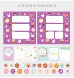 Cute daily note template vector