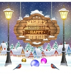 Christmas vintage greeting card on winter village vector