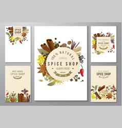 backgrounds with paper emblems and spices vector image