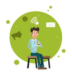 man sitting chair smartphone network social media vector image