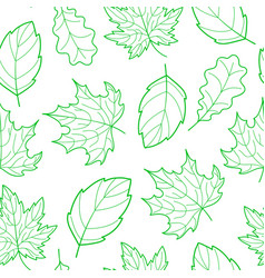 Leaves seamless outline green vector
