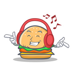 Listening music burger character fast food vector