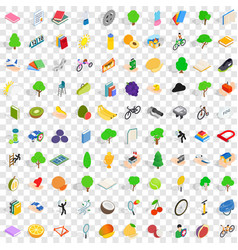 100 vitality icons set isometric 3d style vector