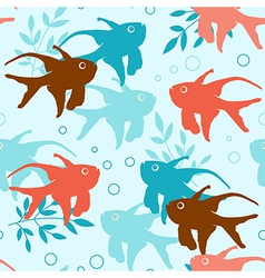 seamless pattern with tropical fishes vector image