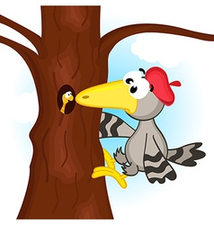 Woodpecker on tree vector