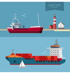 Cargo ships global transportation vector