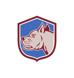 Mastiff dog mongrel head shield cartoon vector