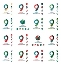 Set of map tag logo icons vector