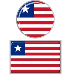 Liberian round and square icon flag vector
