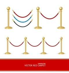 Red carpet gold barrier constructor vector