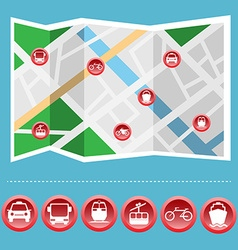 Transportation colorful icon set on the map vector