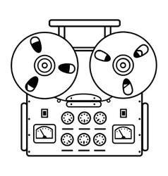 Reel tape recorder on white background vector
