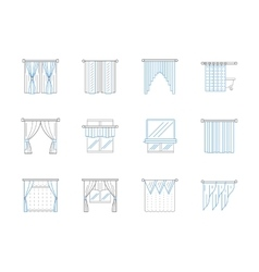Window textile decor flat line icons set vector