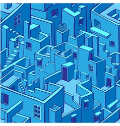 Blue city seamless pattern vector