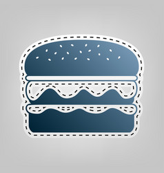 Burger simple sign blue icon with outline vector