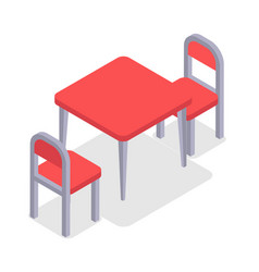 Chair and table isometric design cafe furniture vector