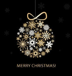 Christmas greeting card with golden balls vector image vector image