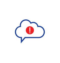 cloud warning icon computing concept vector image vector image
