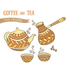 Coffee and tea elements hand drawn set vector
