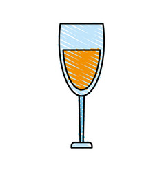 color crayon stripe cartoon glass cup with wine vector image vector image