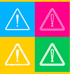 Exclamation danger sign flat style four styles vector