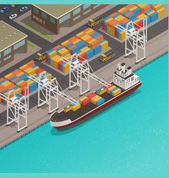 Freight barges harbor wharf isometric vector