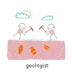 geologists are digging vector image vector image