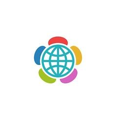 Globe flower colorful logo charitable foundation vector