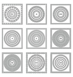 Greek seamless patterns textures gray background vector