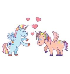Hand drawn unicorns in love vector