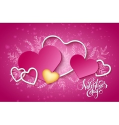 Happy valentines day lettering with hearts vector