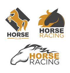 Horse racing sport club isolated running vector
