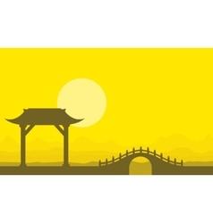 Landscape of bridge on yellow backgrounds vector