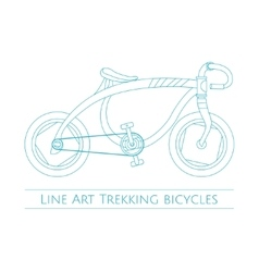 Line art trekking bicycles one vector
