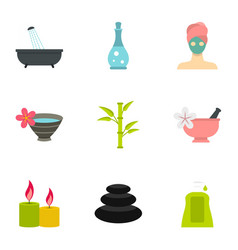 Massage and spa icons set flat style vector