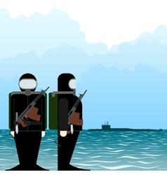 Saboteur submarine vector