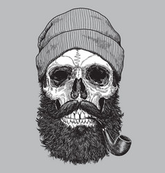 Sailor sea captain hipster skull with pipe vector