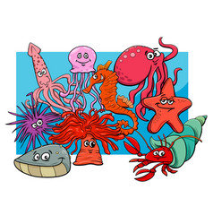 Sea life group cartoon animal characters vector